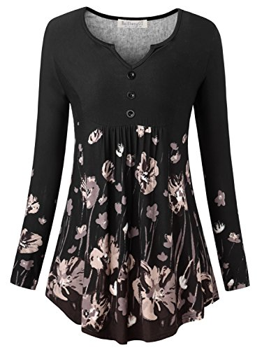 BaiShengGT Women's Henley V-Neck Long Sleeve Floral Button Tunic Tops