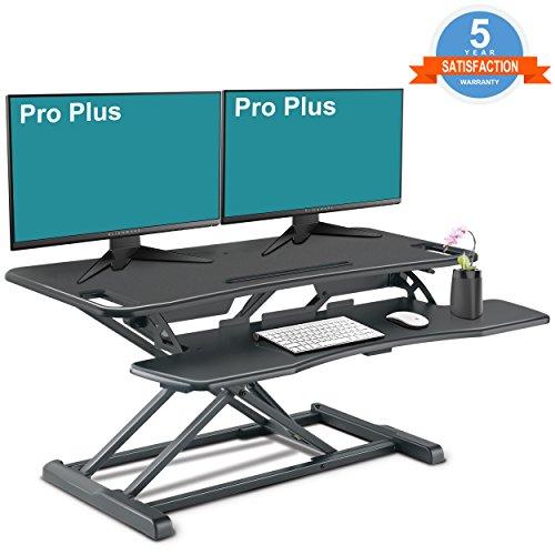 PUTORSEN Höhenverstellbar Sitz-Steh-Schreibtisch Computertisch - Schreibtischaufsatz Steharbeitsplatz Standtisch - Tabletop Stehpult Konverter für Ergonomic Comfort - Kompatibel mit Monitorhalterung (37\'\'- Schwarz)