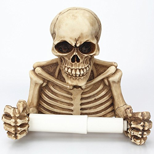 WLWWY Böse Skelett Dekorative Toilettenpapierhalter in Scary Halloween Dekorationen als Badezimmer Dekor Wand Plaques, Skulpturen und Neuheit Bad Zubehör Geschenke