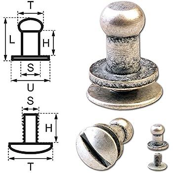 50 Knopfschraubnieten Patronentaschenverschluss Beiltaschenkn/öpfe Knopfnieten zum Anschrauben Pilzkopfschrauben 5MM Nickel-Gl/änzend