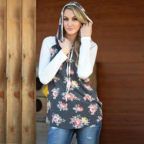 Bluestercool Femmes Floral Impression Sweat-shirt Hoodie Pullover Tops T-Shirt Gris
