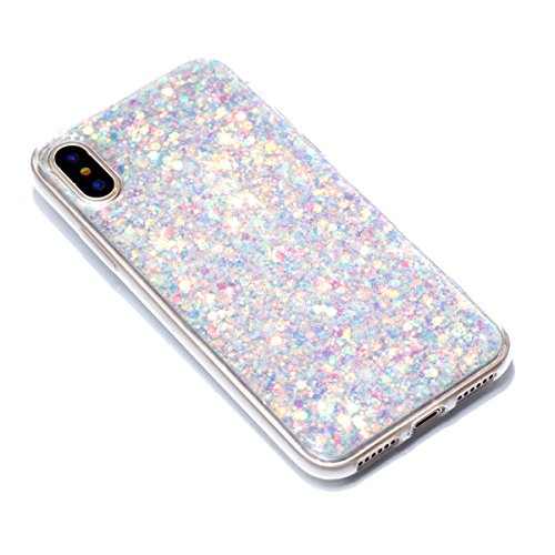 Custodia iphone X 5.8, iphone 10 Cover Glitter, Ekakashop Cover Morbido Sparkly Bling Bling Glitter TPU Silicone Gomma Soft Cover, Belle Bello Trasparente Crystal Clear Protettiva Back Cover Case Cus B-Argento