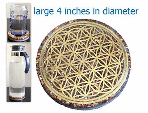 ZZYBIA Orgonite Orgonite 10,2cm Fleur de vie Dessous de Verre d'eau socle...