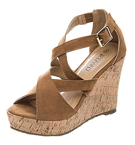 Lora Dora Womens Espadrille Cork Wedges Crossover Strappy Heels Platforms Sandals Size UK 3-8