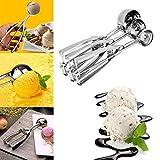 Omiky® Edelstahl Eisportionierer, 3 Stücke Eislöffel Edelstahl Frühling Griff Masher Cookie Scoop Küche Werkzeug Küche liefert (Silber)