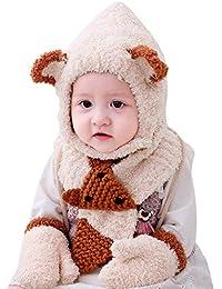 DORRISO Carino Infantili Bambino Cappellini con Guanto Sciarpa Autunno  Invernale Cappuccio Caldo Cappello 0-3 86c64dbfc831