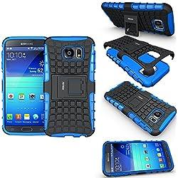 FETRIM Coque Samsung Galaxy S6, Coque Galaxy S6 Armure Support TPU Silicone + Plastique Protection Étui,Anti Chocs Bumper Hybride Protection Housse Cover pour Samsung Galaxy S6 - Bleu