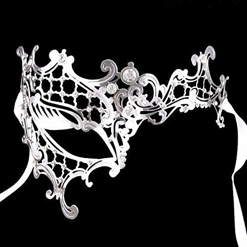 Driverder Metallische Strass Ball Prinzessin Make-up Party Maske EIN Auge halbe Gesichtsmaske (Silber, rechtes Auge)