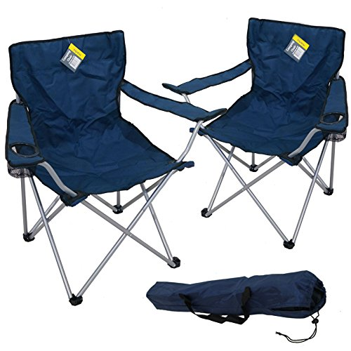 2x Marko Outdoor Oxford Blue Folding Camping Chair Camping Hiking Fishing Garden Sun Furniture