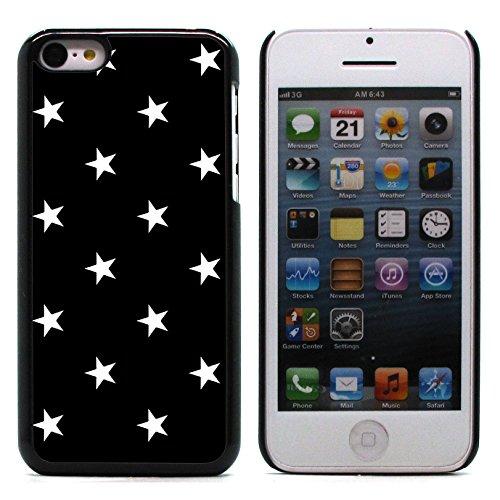 Graphic4You Sterne Muster Design Harte Hülle Case Tasche Schutzhülle für Apple iPhone 5C (Grau) Schwarz