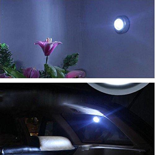 Oyedens 3 LED Wandleuchte Küchenschrank Wandschrank Beleuchtung Aufkleber Tap Touch Lampe Lampen Touch Nachtlicht Home Küche Unter Kabinett Schrank Push Stick On Lamp Garten Terasse beleuchtung garten LED Solarleuchten Gartenleuchten (Silber) (3 Licht Granit)
