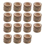Tubayia 15pcs Baumstumpf Teelichthalter Holz Kerzenhalter Teelichter für Zuhause Bar Hochzeit Party Dekoration -