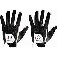 Finger Ten Men's Golf Glove Pair or Value 2 Pack, Hot Wet Rain Grip Left Right Hand, Black Grey Fit Small Medium Large XL