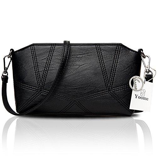 Yoome Retro borse da viaggio per le donne Flatbady borsa a mano frizione borsa con cinturino da polso - Navy Nero