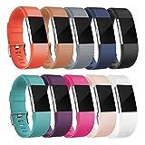 Armband für Fitbit Charge 2, (5er Pack, 10er Pack), Ersatz Sport Fitness Zubehör Band für Fitbit Charge 2 HR (Groß-10pcs)
