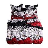 YGMDSL Bettfutter 3D Rose Leopard Persönlichkeit (1 Bettbezug 2 Kopfkissenbezüge),220 * 240cm