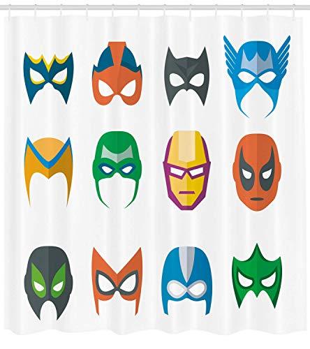 Superheld Duschvorhang Held Maske Weiblich Männlich Kostüm Macht Gerechtigkeit Menschen Mode Symbole Kinder Display Stoff Badezimmer Dekor Set mit Multicolor