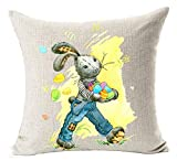 vintage cap Happy Easter Oil Painting Smile Bunny Color Egg and Butterflies Cotton Linen Square Decorative Throw Pillow Case Cushion Cover 18inchs