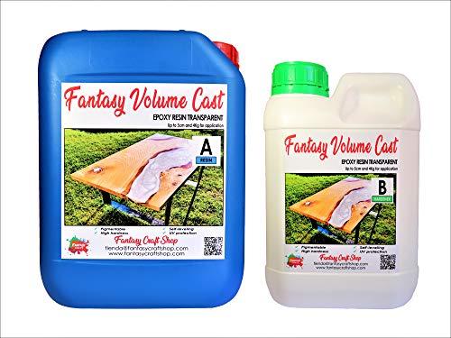 Fantasy Craft Fantasy Volume Cast, 7,5 kg Epoxidharz für große Wäsche (+5 cm), komplett transparent und mit UV-Filter, 1,5 kg