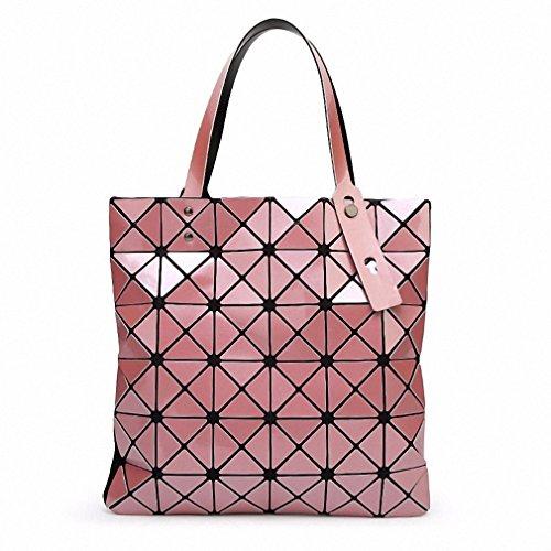 Borsa Borsetta donna geometrica ripiegata Plaid moda Borsa Tote casual donna Borsetta tracolla blu cielo piccola Pink