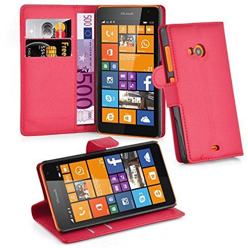 Cadorabo Hülle für Nokia Lumia 535 Hülle in Karmin Rot Handyhülle mit Kartenfach und Standfunktion Case Cover Schutzhülle Etui Tasche Book Klapp Style Karmin-Rot