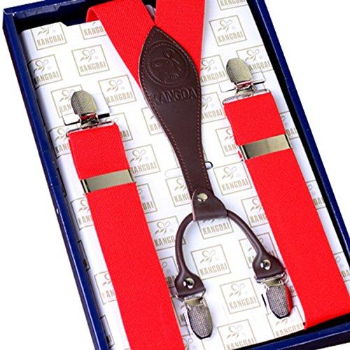 Ahatech Homme Cuir Bretelles V Forme Réglables Elastique Clip-on 4 Clips pour Casual Pantalons - Noir Rouge