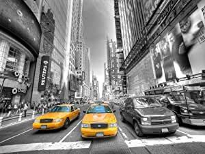 New York avec Yellow Cabs, Time Square, deux Taxis jaune (B/N avec jaune) - châssis 85x113x4 cm