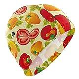 ALINLO Badekappe, Gemüse, Tomaten, Früchte Muster, Badekappe, wasserdicht, für Erwachsene, Männer, Jugendliche, Jungen