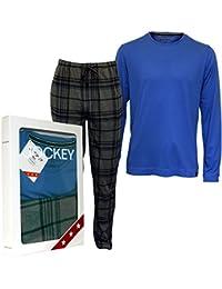 Conjunto De Pijama De Jockey Manga Larga Camiseta Y Fondos Jersey De Los Hombres, Azul