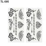 Momangel Schwarz Molly Serie, 2Blatt Rose Feder Buchstaben Schmetterling Temporäre Tattoos Hand Body Art Aufkleber, Schwarz, TL-085