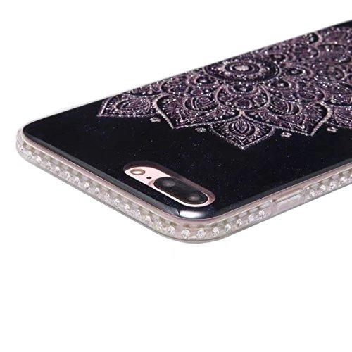 Bling Sparkle Glitter Rhinestone Resin Diamant Schützende Rückseite Cover Case Soft TPU Shell Stoßfänger [Shock Absorbtion] für iPhone 7 Plus ( Color : A ) E