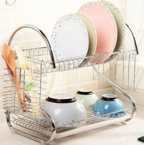 Escurreplatos 2pisos, de acero inoxidable Offre espacio para almacenamiento platos, cuencos, tazas Usare principal en la cocina, plateado