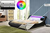 DRULINE LED Bett Diablo Doppelbett Polsterbett Lattenrost Kunstleder Bettgestell (180x200, Schwarz)