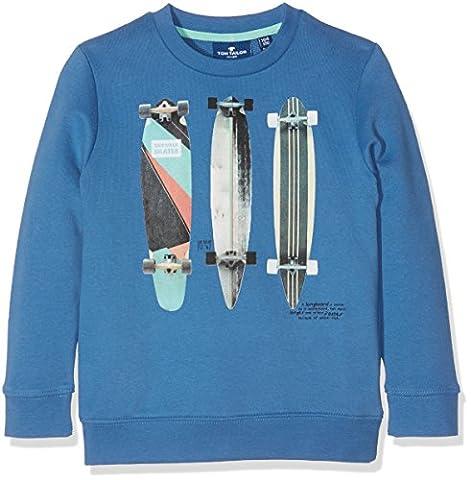 TOM TAILOR Kids Jungen Sweatshirt Sweat with Photo Front Print, Blau (Midsummer Blue 6069), 98 (Herstellergröße: