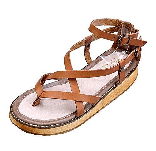 Dayiss Damen Vintage Elegant Böhmen Sandalen klassische Gürtelschnalle Sommerschuhe Flach Braun