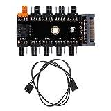 Kofun SATA 1 bis 10-Wege-Splitter PWM Lüfterrad Hub 4-Pin 12 V Steckdose PCB Adapter 10-Port Fan Hub Board Sata Netzteil