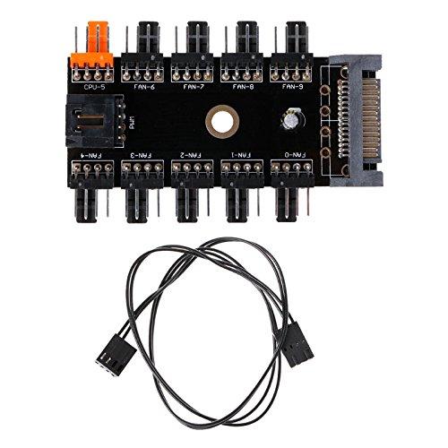 Kofun SATA 1 bis 10-Wege-Splitter PWM Lüfterrad Hub 4-Pin 12 V Steckdose PCB Adapter 10-Port Fan Hub Board Sata Netzteil (Orange-pc-steuerung)