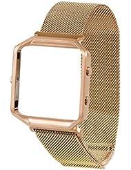 Band für Fitbit Blaze mit Metallrahmen, Wearlizer Milanese Loop Smart Watch Band, Ersatz Edelstahl Armband für Fitbit Blaze