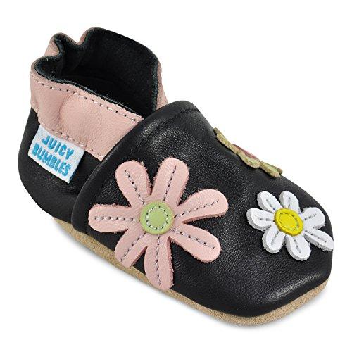 Juicy Bumbles - Weicher Leder Lauflernschuhe Krabbelschuhe Babyhausschuhe mit Wildledersohlen. Junge Mädchen Kleinkind- Gr. 12-18 Monate (Größe 22/23)- Blumen