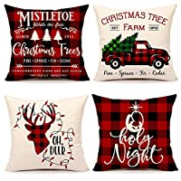 4TH Emotion Christmas Buffalo Check Plaids Throw Pillow Covers Cushion Case for Sofa Couch 18 x 18 Inches Cotton Linen Set of 4(Christmas Trees, Farm Truck, Oh Deer, Holly Night)