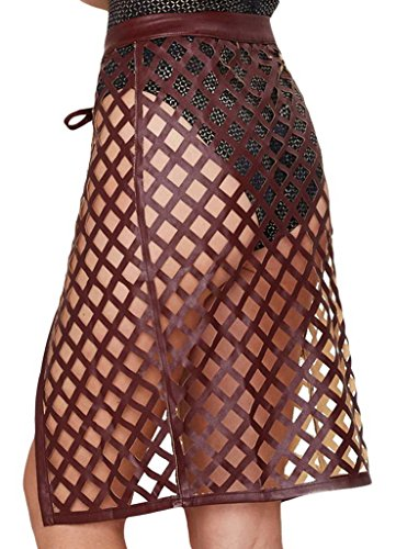 Bigood Jupe Femme Maille Sexy Jupes Faux Cuir Sans Doublure Bouton Rouge