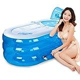 LybCvad Faltende aufblasbare Badewanne Plastikbadewanne Badeeimer Erwachsenes Säuglingsbadewanne Badewanne, die Badezimmer-Annehmlichkeits-Transparentes Blau badet