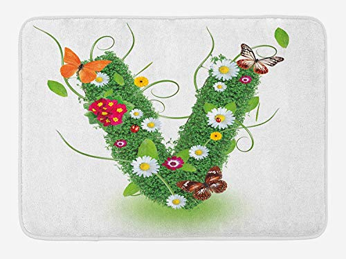 JIEKEIO Letter V Bath Mat, Lively Bouquet of Flourishing Daisies Green Swirls Nature Spring Butterflies, Plush Bathroom Decor Mat with Non Slip Backing, 23.6 W X 15.7 W Inches, Green Multicolor -
