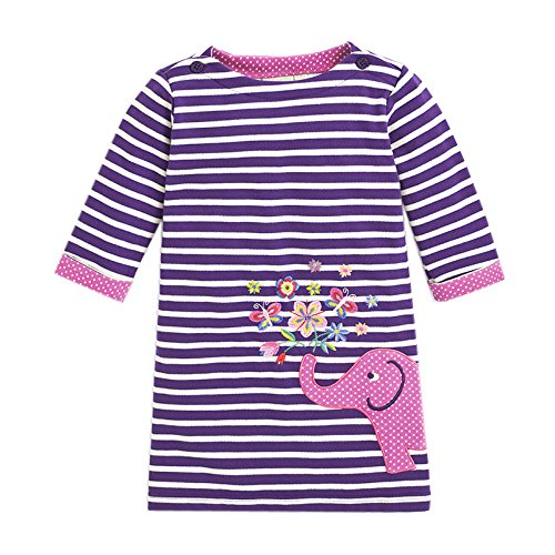 en Langarm Baumwolle Kleid 2-8 Jahre MS0277PURPLE 6T (Süßes 4-jähriges Mädchen)