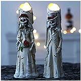 FXQ Halloween Skeleton Skull Elektronischer Kerzenhalter - Romantic Halloween Skulls Bräutigam Brautpaar Elektronisches Kerzenlicht Resin Skull Crafts Skeleton Head Statue