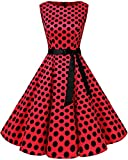 bbonlinedress 50s Retro Schwingen Vintage Rockabilly Kleid Faltenrock Red Black Big Dot L