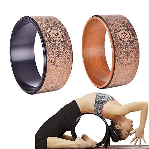 Yunhigh Yoga-Rad-Holz zum Dehnen, natürliches Kork-Fitness-Rad zur Verbesserung der Rückenbiegung Stretch-Pilates-Kreis, speziell für Dharma-Yoga-Stützrad-Pose entwickelt