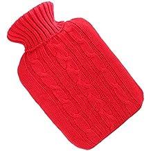MagiDeal 2000ML Goma de Agua Caliente Grueso Caso Hecho Punto Suave Bolsa Botella Alivio de Dolor Relajante - Rojo