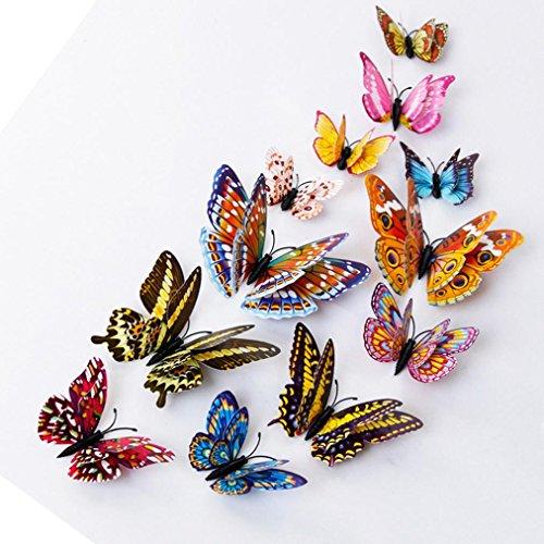 12 PCS 3D Schmetterlinge Wanddeko Aufkleber Abziehbilder,BBTXS Schmetterling Dekorationen, Wand-Dekor Design Aufkleber Kunst Zimmer Magnetic Home Decor bunter Schmetterling