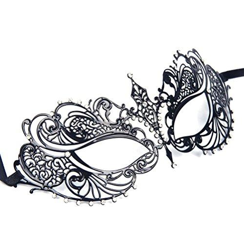 WINOMO Mascherata maschera veneziana donna taglio metallo per Halloween  Costume Ball Party nero cristallo strass 844b7b5ffc52